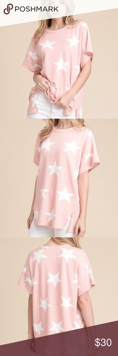 **NEW LISTING**  Star Print Top with Hem Detail Pretty In Pink top with large white stars that stand out and look beautiful!  Made of 95% Polyester and 5% Spandex it's the perfect top to just hang out in!  Really cute with white jeans or blue jeans! First Love Tops