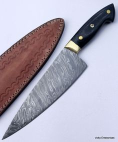 Damascus Knife Custom Handmade - 12.00 Inches Pakka Wood HANDLE CHEF KNIFE #Handmade
