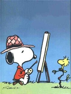 SNOOPY & WOODSTOCK~ SNOOPY THE PAINTER Peanuts Cartoon, Peanuts Snoopy, E Books, Snoopy Et Woodstock, Snoopy Drawing, Snoopy Images, Snoopy Comics, Mickey Mouse Art, Childhood Characters