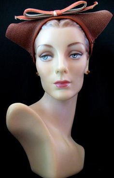 Adorable! 40's Pumpkin Straw Hat with Cat Ears| eBay