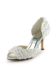 669a6a2e618e New Arrival Satin Peep-toe Stiletto Heels Rose Flowers Wedding Shoes Pumps