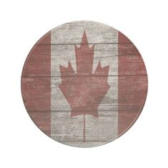 Wooden Canadian Flag Sandstone Coaster - wood gifts ideas diy cyo natural
