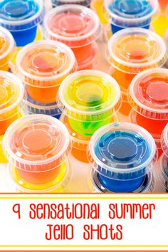 9 Sensational Summer Jello Shots – flavorful #jello combined with tropical booze makes these jello shots scream SUMMER; grab your friends and make your taste buds sing. #jelloshots #summerjelloshots #tropticaljelloshots Malibu Jello Shots, Summer Jello Shots, Best Jello Shots, Jello Shot Recipes, Alcohol Drink Recipes, Cocktail Shots, Cocktails, Jello Flavors, Jello Shooters