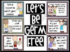 """Lets Be Germ Free Bulletin Board from The Bulletin Board Lady on TeachersNotebook.com -  (15 pages)  - Let's be germ free! This bright and playful bulletin board gives tips for stopping the spread of germs. Tips include: """"Wash your hands with soap."""" """"Use a tissue to catch your sneeze."""" """"Wash and dry your hands after you use th"""