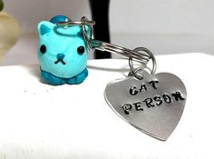 Cat keychain Hand stamped key chain Cute cat key chain Cat