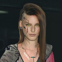 This is the room of a cyberpunk girl. She is a vendor, weapon trader and engineer, she sell weapon mods and weapon augmentations, she can modify and customize weapons. She is not legal so you don't find her in a shop or Cyberpunk Games, Cyberpunk Girl, Arte Cyberpunk, Cyberpunk Fashion, Cyberpunk 2077, Robot Makeup, Futuristic Makeup, Cyberpunk Aesthetic, Ex Machina
