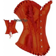 Long red satin corset with ruffled trim. Simple style corset top. www.discreettiger.com.au