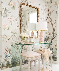 Decor Inspiration: Perfectly Pretty in Little Rock, Arkansas -- interior design by Krista Lewis, photography by Rett Peek for At Home in Arkansas Bedroom Decor, Wall Decor, Master Bedroom, Master Suite, Rose Bedroom, Master Closet, Bedroom Sets, Chinoiserie Chic, Gold Chinoiserie Wallpaper