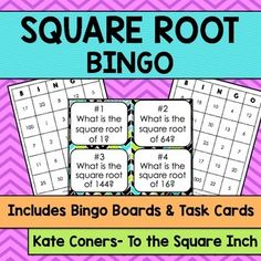 Square Roots Bingo and Task CardsIncluded in this product:30 unique Square Root bingocards.25 Square Root calling cards (numbered to be used as task cards for independent or small group work)  2 different task cards recording sheet  Answer KeyCheck out my other BINGO games  HERE Check out my other square root products  HERE