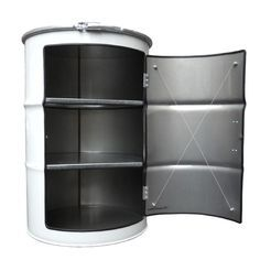 """Oil Drum Cabinet: I'm using this idea but will be """"sinking"""" in the top and adding a drain for my basin. I'm also welding on angle for legs to give a bit of lift."""