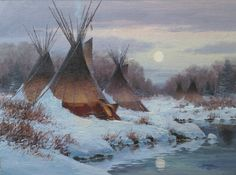 Winter Solstice by John Potter. Oil on canvas, x Native American Teepee, Native American Dress, Native American Images, Native American Artwork, Native American Symbols, American Indian Art, Native American History, Native American Indians, Native Americans