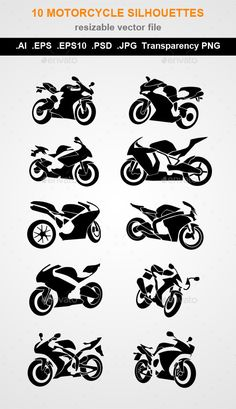 10 Motorcycle silhouettes Vector) AI file (layered file) EPS file ( f. Biker Tattoos, Motorcycle Tattoos, Motorcycle Logo, Motocross Tattoo, Dirt Bike Tattoo, Black And White Stickers, Motorbike Accessories, String Art, Svg Cuts