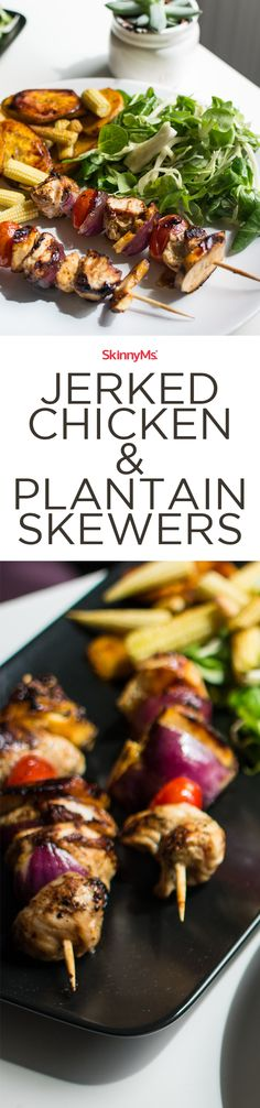 These jerked Chicken & Plantain Skewers burst with Caribbean flavor!