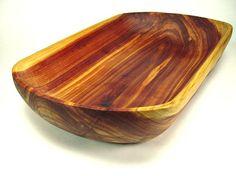 Beautiful hand made cedar bowl by wood artist 'Joe Marshall' of Twinwood Carving ~  Cedar Wooden Dough Bowl No 32