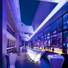 Ozone Bar at The Ritz Carlton, Hong Kong. Located on the floor of The Ritz-Carlton, Hong Kong, Ozone is the world's highest bar. Restaurant Hotel, Restaurant Design, Nightclub Design, Restaurants, Sky Bar, Bars And Clubs, Bar Design, Bar Interior, Purple Interior
