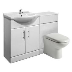 650mm White Gloss Vanity Unit and Back to Wall Toilet Pan and FREE Tap: Amazon.co.uk: Kitchen & Home