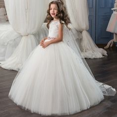 >> Click to Buy << 2017 New Flower Girl Dresses White and Ivory Ball Gown O-neck Sleeveless Lace Up Birthday Summer Communion Dresses with Train  #Affiliate
