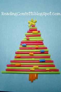 Christmas tree kids party craft make from colored drinking straws