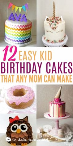 How to make cute kid birthday cakes! I love how easy it is to make cakes at home! It turns out its easy to decorate a boxed-mix, store-bought, or homemade cake with these clever cake decorating tricks. These are crazy creative birthday cakes for kids. These cakes are perfect for both boys and girls birthday parties! #kidsbirthdaycakes #birthdaycakes #kidsbirthday #ChocolateRaspberryCake Simple Birthday Cake Designs, Easy Kids Birthday Cakes, Creative Birthday Cakes, Homemade Birthday Cakes, Birthday Cake Girls, Homemade Cakes, Birthday Parties, Cake Decorating For Kids, Decorating Tips