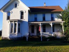 Our Farmhouse. Built in 1870 in Byron Center, Michigan :) Byron Center, Exterior Houses, Farmhouse Design, Michigan, Mansions, House Styles, Building, Home, Decor