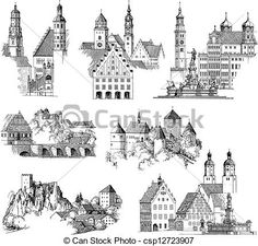 Vector Clipart of Medieval Urban Scenics - Drawing or engraving ...