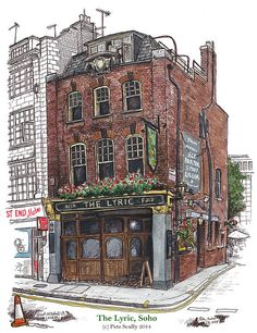 The Lyric, Soho by Pete Scully Building Illustration, House Illustration, Illustration Sketches, Watercolor Architecture, Architecture Drawings, City Sketch, Building Drawing, House Drawing, Urban Sketchers