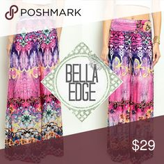 Fuschia pink abstract floral palazzo pants 92% POLYESTER, 8% SPANDEX Made in USA These beautiful, watercolor-like on-trend pants features beautiful hues of pink and purple and abstract coloring with feminine floral/ rose detailing scattered throughout *Please note: each pair is unique and may not be exact to the stock or modeled picture but will be similar.  Size small to large Bella Edge Boutique Pants Wide Leg