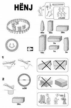 Build-it-yourself Stonehenge. Justin Pollard, John Lloyd, and Stevyn Colgan designed an IKEA manual for Stonehenge, publishing it under the title HËNJ in the QI 'H' Annual. Stonehenge, Ikea Ps 2014, Ikea Hackers, Ad Art, Humor Grafico, Ikea Furniture, Furniture Cleaning, Furniture Removal, World History