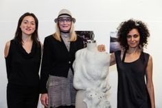 The Arts Fund's Catherine Gee (L), with board member Nancy Gifford and artist Xarene Eskandar with her piece Artifacts from a Parallel Universe: tentative architecture of Coastline inhabitants of Other Earth