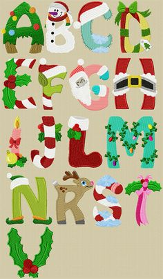 44 ideas for embroidery machine christmas appliques Christmas Projects, Holiday Crafts, Christmas Crafts, Christmas Decorations, Christmas Ornaments, Xmas, Christmas Alphabet, Christmas Applique, Christmas Embroidery