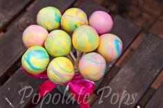 Four colour marble cake pops