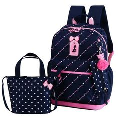 1fb23b0391c0 2018 Cute Bow 3pcs set Children School Bags for Girls School Backpack  Satchel Kids Book