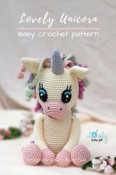 This heartwarming unicorn toy is fun and easy to crochet. DIY your own amigurumi animal with this crochet pattern. Amigurumi unicorn toy like this is soft, squeezable for kids to touch and play. This would also be a great baby shower gift. #amigurumi #crochetpattern #lovelybabygift #anleitung #haakpatroon Crochet Animal Amigurumi, Crochet Baby Toys, Crochet Unicorn, Crochet Patterns For Beginners, Crochet Basics, Crochet Patterns Amigurumi, Crochet Gifts, Crochet Animals, Stuffed Animal Patterns