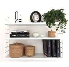 Shelves, string, stringhylla White Shelves, Floating Shelves, String Pocket, String Shelf, Plant Shelves, Scandinavian Home, Bedroom Inspo, Interior Inspiration, Interior Design