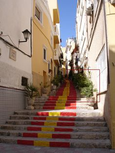 The famous flag painted steps in Calpe Old Town.