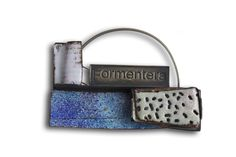 "Montserrat Lacomba, Brooch ""Formentera"" from the ""Dreamed Landscapes"" series. 45 x 65 x 12 mm Enameled copper and oxidized nickel silver and silver."