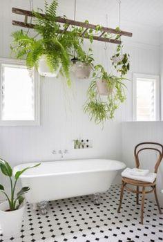 Inspiring Hanging Plants Ideas for Bathroom - Bathroom Best Home Design Relaxing Bathroom, Boho Bathroom, Diy Bathroom Decor, White Bathroom, Bathroom Interior, Master Bathroom, Bathroom Ideas, Bathroom Renovations, Bathroom Organization