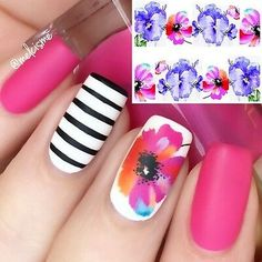 Nail Water Decals, Nail Decals, Nail Stickers, Water Nails, Pink Summer, Summer Flowers, Bright Nails For Summer, White Summer Nails, Spring Nails