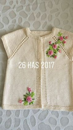 - lino cordón tejido a mano. Baby Knitting Patterns, Baby Cardigan Knitting Pattern, Knitting For Kids, Easy Knitting, Baby Patterns, Embroidery On Kurtis, Kurti Embroidery Design, Baby Embroidery, Crochet Baby Sweaters