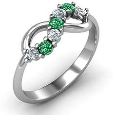 Infinity Ring push present with both daughters birthstones