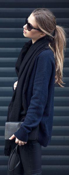 #fall #fashion / navy knit + black