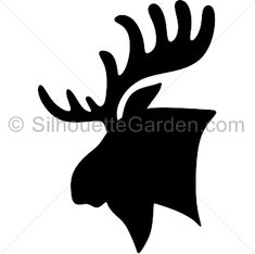 Moose head silhouette clip art. Download free versions of the image in EPS, JPG, PDF, PNG, and SVG formats at http://silhouettegarden.com/download/moose-head-silhouette/