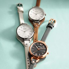 Fossil Georgia Leather and Stainless Steel Watch – Tan   The round face of this watch is boyfriend-inspired, but the slim leather strap makes it perfectly feminine.