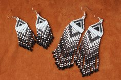 """Moonlight Shimmer native beaded earrings in 2.5"""" or 4"""" lengths. Hand made by Suzanne Flumerfelt in Yukon, Canada."""