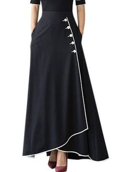 Fashion Black Piped Button Embellished High Waist Maxi Skirt - Fashion Black Piped Button Embellished High Waist Maxi Skirt The Effective Pictures We Offer You Ab - Maxi Skirt Style, Pleated Midi Skirt, Dress Skirt, Mode Outfits, Skirt Outfits, Fashion Outfits, Cheap Fashion, Fashion Fashion, Fashion Online