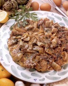 Bárányborda articsókával és tojással Pork, Cooking Recipes, Meals, Dishes, Chicken, Cook Books, Drinks, Kale Stir Fry, Drinking