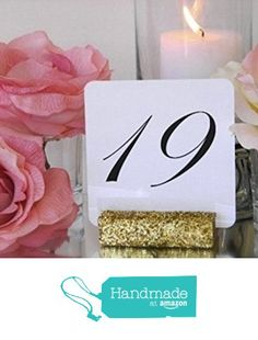 Table Card Holder + 3 inch long - Wedding Table Number Holdrs - Gold Glitter Table Card Holder (Set of 10) from G360Designs https://www.amazon.com/dp/B01GKJZM7A/ref=hnd_sw_r_pi_dp_ppyFxbFV4Z11Q #handmadeatamazon