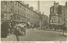 "A postcard showing the ""Bell o'the Brae"", the steep northern end of High Street leading to the Cathedral, c 1904. George Street is to the left, Duke Street to the right at the foot of the brae."