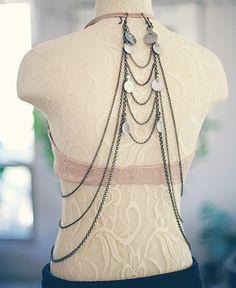 The Aria Back Drape - Art Deco Upper Back Bra Drape / Hip Drape - Antique Bronze or Silver by BlueSunTribe on Etsy https://www.etsy.com/listing/217985964/the-aria-back-drape-art-deco-upper-back