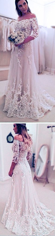 Stunning Off Shoulder Half Sleeve Long A-line Wedding Party Dresses, WD0059